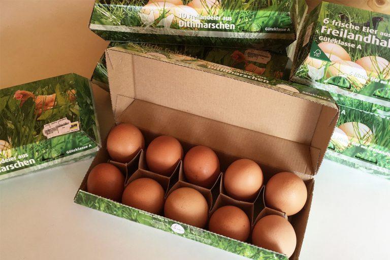 Eier aus Freilandhaltung mit Mobilställen vom Hof Timm aus Nindorf