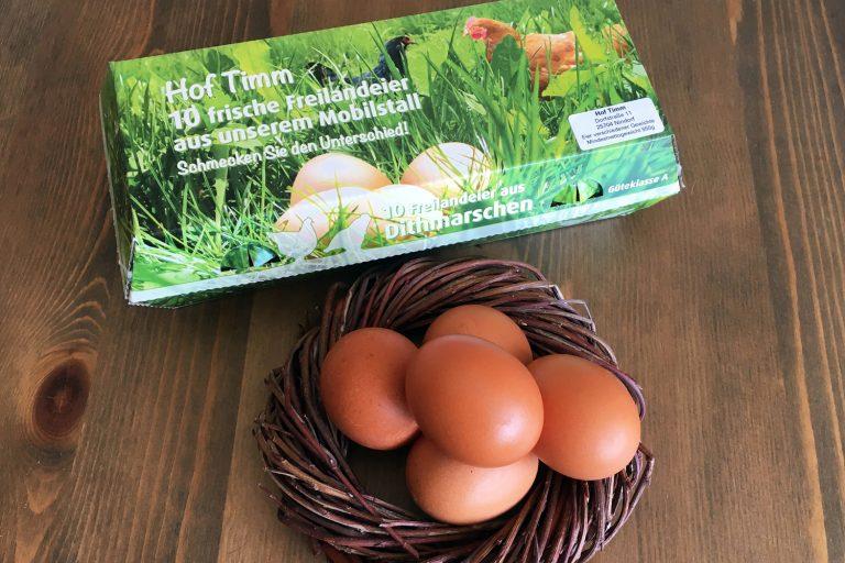 Eierpackung Hof Timm | Eier von Hühnern aus Freilandhaltung mit Mobilställen